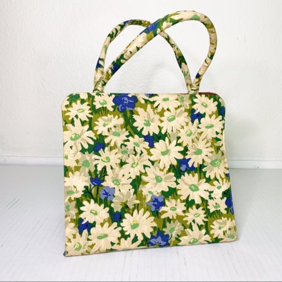 Vintage Handbags - Vintage Margaret Smith Floral Handbag Purse